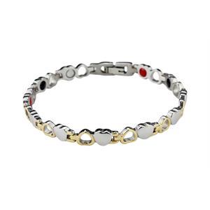 Titan Magnetarmband med guldhjärtan & silverhjärtan