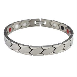 Cube Sølv Titanium Magnet Armbånd