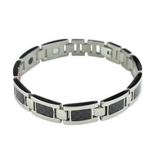 Svart & Silvrigt Titanarmband - 3000 gauss per magnet.