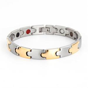 Puzzle Titanium Magnet Armbånd i Sølv & Guld.