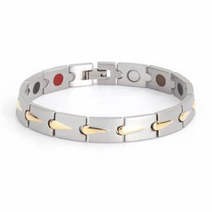 Titanium Magnet Armbånd i Sølv/Guld. 3000 gauss per magnet.