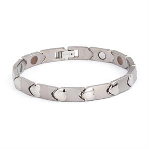 Sølv Titanium Magnet Armbånd. 3000 gauss pr. magnet.