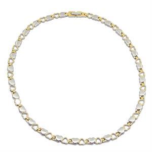 Magnet Halskæde i Titanium m. Hjerter i Sølv/Guld. 3000 gauss pr. magnet.