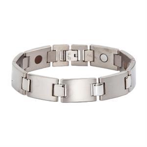 Leddelt Sølv Titanium Magnet Armbånd.