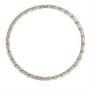 Magnet Guld/Sølv Halskæde i Rustfri Stål. 3000 gauss pr. magnet.