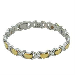 Titanium Magnet Armbånd m. Guldhjerter. 3000 gauss pr. magnet.