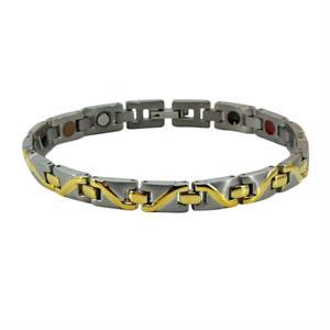 Titanium Magnet Armbånd med Sølv/Guld Waves.