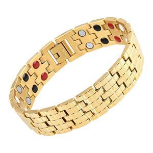 Titanium Magnet Armbånd i Leddelt Guld.