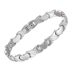 Titanium Magnet Ambånd med Hjerter i Sølv.