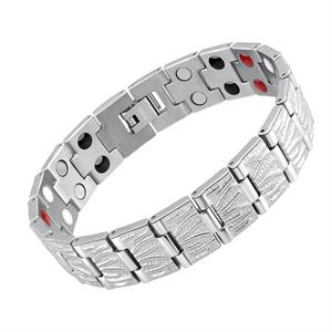 Sølv Ruflet Titanium Magnet Armbånd.