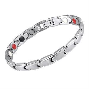 Sølv Puzzle Titanium Magnet Armbånd.