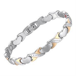 Hjerte Titanium Magnetarmbånd m. sølv-/guldflet.