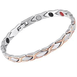 Titanium Magnetarmbånd Silver/Rosegold Flet