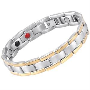 Silver med Guldrand Titan Magnetarmband.