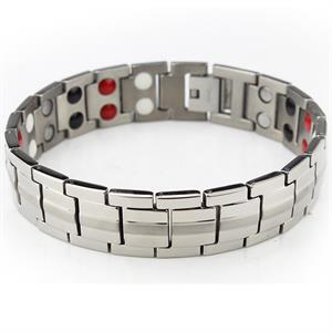 Sølv Stribe Titanium Magnetarmbånd