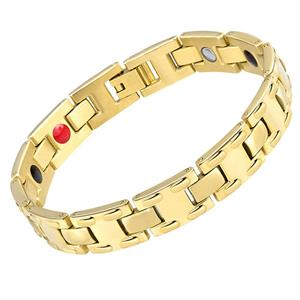Gold Double Dot Titanium Magnetarmbånd.