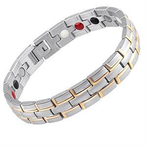 3-delt Sølv/Guld Titanium Magnetarmbånd.
