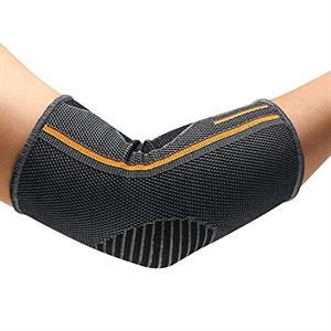 Ergonomiskt armbågsbandage med kompression.