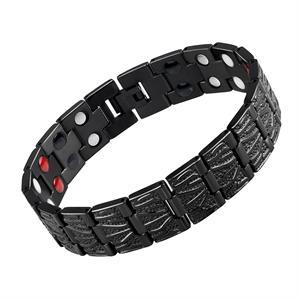 Sort Ruflet Titanium Magnet Armbånd.