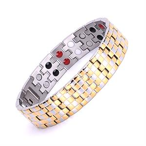 Titanium Magnet Armbånd i Leddelt Guld og Sølv